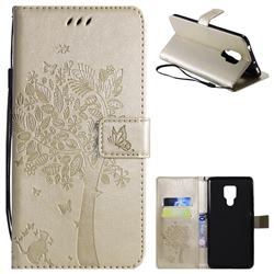 Embossing Butterfly Tree Leather Wallet Case for Huawei Mate 20 X - Champagne