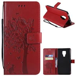 Embossing Butterfly Tree Leather Wallet Case for Huawei Mate 20 X - Red