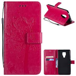Embossing Butterfly Tree Leather Wallet Case for Huawei Mate 20 X - Rose