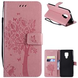 Embossing Butterfly Tree Leather Wallet Case for Huawei Mate 20 X - Pink