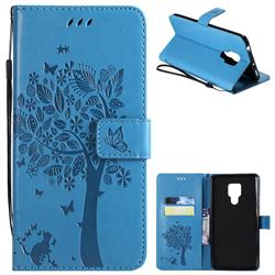 Embossing Butterfly Tree Leather Wallet Case for Huawei Mate 20 X - Blue