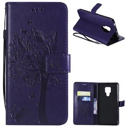 Embossing Butterfly Tree Leather Wallet Case for Huawei Mate 20 X - Purple