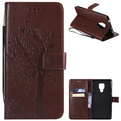 Embossing Butterfly Tree Leather Wallet Case for Huawei Mate 20 X - Coffee