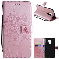 Embossing Butterfly Tree Leather Wallet Case for Huawei Mate 20 X - Rose Pink