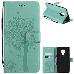 Embossing Butterfly Tree Leather Wallet Case for Huawei Mate 20 X - Cyan