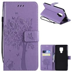 Embossing Butterfly Tree Leather Wallet Case for Huawei Mate 20 X - Violet