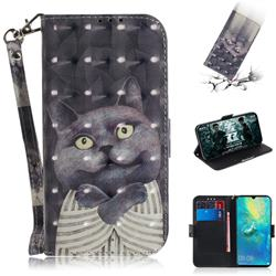 Cat Embrace 3D Painted Leather Wallet Phone Case for Huawei Mate 20 X
