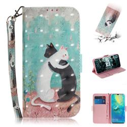 Black and White Cat 3D Painted Leather Wallet Phone Case for Huawei Mate 20 X
