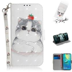 Cute Tomato Cat 3D Painted Leather Wallet Phone Case for Huawei Mate 20 X