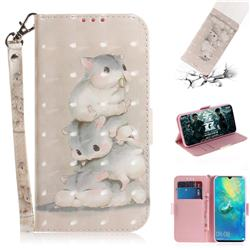 Three Squirrels 3D Painted Leather Wallet Phone Case for Huawei Mate 20 X