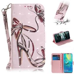 Butterfly High Heels 3D Painted Leather Wallet Phone Case for Huawei Mate 20 X