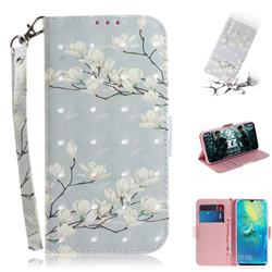Magnolia Flower 3D Painted Leather Wallet Phone Case for Huawei Mate 20 X