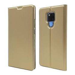Ultra Slim Card Magnetic Automatic Suction Leather Wallet Case for Huawei Mate 20 X - Champagne
