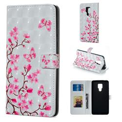 Butterfly Sakura Flower 3D Painted Leather Phone Wallet Case for Huawei Mate 20 X