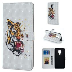 Toothed Tiger 3D Painted Leather Phone Wallet Case for Huawei Mate 20 X