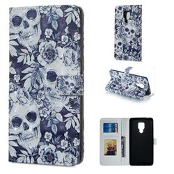 Skull Flower 3D Painted Leather Phone Wallet Case for Huawei Mate 20 X