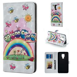 Rainbow Owl Family 3D Painted Leather Phone Wallet Case for Huawei Mate 20 X