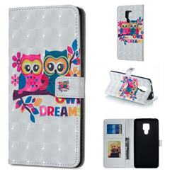 Couple Owl 3D Painted Leather Phone Wallet Case for Huawei Mate 20 X