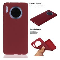 Soft Matte Silicone Phone Cover for Huawei Mate 30 - Wine Red