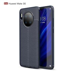 Luxury Auto Focus Litchi Texture Silicone TPU Back Cover for Huawei Mate 30 - Dark Blue