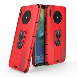 Alita Battle Angel Armor Metal Ring Grip Shockproof Dual Layer Rugged Hard Cover for Huawei Mate 30 - Red