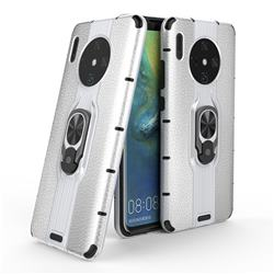 Alita Battle Angel Armor Metal Ring Grip Shockproof Dual Layer Rugged Hard Cover for Huawei Mate 30 - Silver
