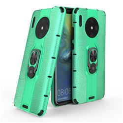 Alita Battle Angel Armor Metal Ring Grip Shockproof Dual Layer Rugged Hard Cover for Huawei Mate 30 - Green