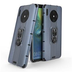 Alita Battle Angel Armor Metal Ring Grip Shockproof Dual Layer Rugged Hard Cover for Huawei Mate 30 - Blue
