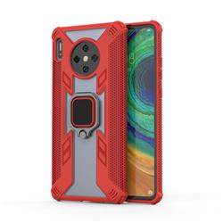 Predator Armor Metal Ring Grip Shockproof Dual Layer Rugged Hard Cover for Huawei Mate 30 - Red