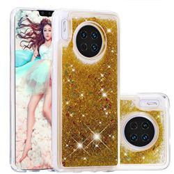 Dynamic Liquid Glitter Quicksand Sequins TPU Phone Case for Huawei Mate 30 - Golden