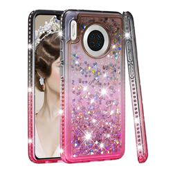 Diamond Frame Liquid Glitter Quicksand Sequins Phone Case for Huawei Mate 30 - Gray Pink