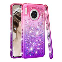Diamond Frame Liquid Glitter Quicksand Sequins Phone Case for Huawei Mate 30 - Pink Purple
