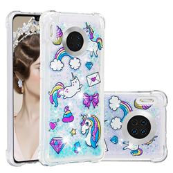 Fashion Unicorn Dynamic Liquid Glitter Sand Quicksand Star TPU Case for Huawei Mate 30