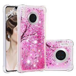 Pink Cherry Blossom Dynamic Liquid Glitter Sand Quicksand Star TPU Case for Huawei Mate 30
