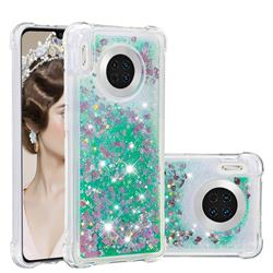 Dynamic Liquid Glitter Sand Quicksand TPU Case for Huawei Mate 30 - Green Love Heart