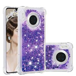 Dynamic Liquid Glitter Sand Quicksand Star TPU Case for Huawei Mate 30 - Purple