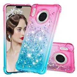 Rainbow Gradient Liquid Glitter Quicksand Sequins Phone Case for Huawei Mate 30 - Pink Blue