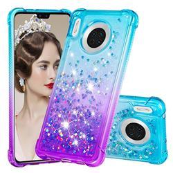 Rainbow Gradient Liquid Glitter Quicksand Sequins Phone Case for Huawei Mate 30 - Blue Purple