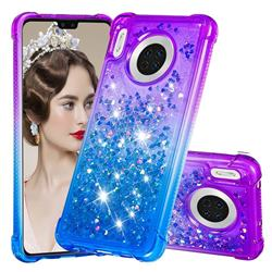 Rainbow Gradient Liquid Glitter Quicksand Sequins Phone Case for Huawei Mate 30 - Purple Blue