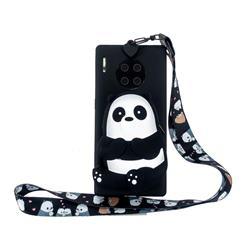 Cute Panda Neck Lanyard Zipper Wallet Silicone Case for Huawei Mate 30