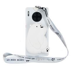 White Polar Bear Neck Lanyard Zipper Wallet Silicone Case for Huawei Mate 30