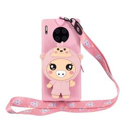 Pink Pig Neck Lanyard Zipper Wallet Silicone Case for Huawei Mate 30