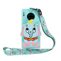 Blue Elephant Neck Lanyard Zipper Wallet Silicone Case for Huawei Mate 30
