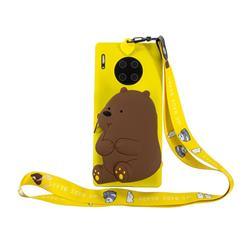 Yellow Bear Neck Lanyard Zipper Wallet Silicone Case for Huawei Mate 30