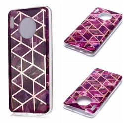 Purple Rhombus Galvanized Rose Gold Marble Phone Back Cover for Huawei Mate 30
