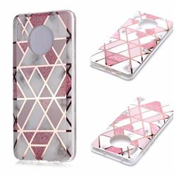 Pink Rhombus Galvanized Rose Gold Marble Phone Back Cover for Huawei Mate 30