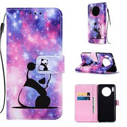 Panda Baby Matte Leather Wallet Phone Case for Huawei Mate 30