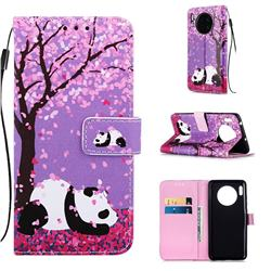 Cherry Blossom Panda Matte Leather Wallet Phone Case for Huawei Mate 30