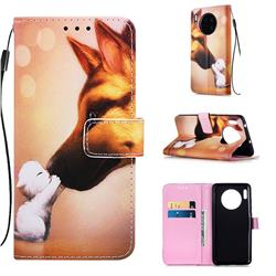 Hound Kiss Matte Leather Wallet Phone Case for Huawei Mate 30