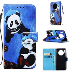Undersea Panda Matte Leather Wallet Phone Case for Huawei Mate 30